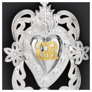 Coeur votif ange et fleurs 11x8 cm s2
