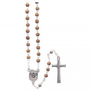 Cofanetto a fiore in olivo con rosario in legno 5 mm s4
