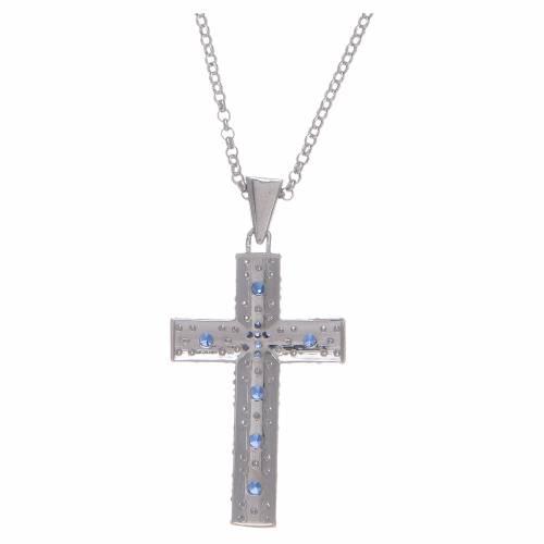 Collana Amen Croce Argento Rodiato zirconi Blu s2