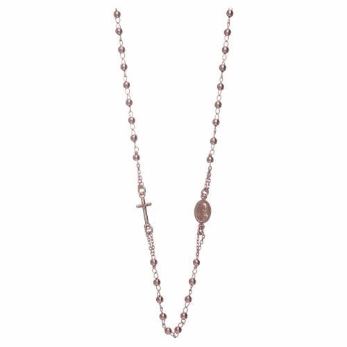 Collana rosario girocollo AMEN argento 925 fin. Rosè s1