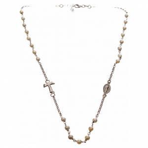 Collar MATER blanco cadena plata 925 tau y medalla s4