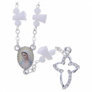 Rosarios y Porta Rosarios Medjugorje: Collar rosario Medjugorje rosas blancas cerámica imagen Virgen María