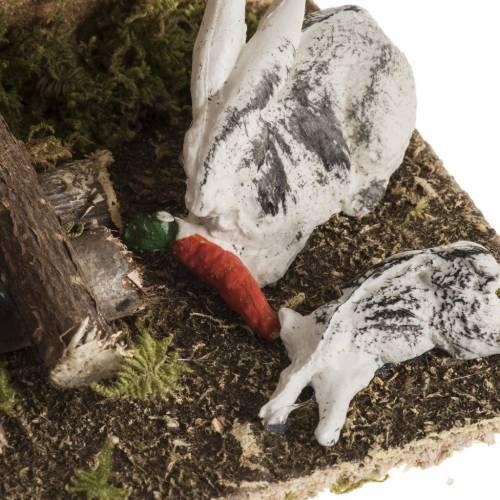 Conigli con conigliera 8-10 cm: ambiente del presepe s3