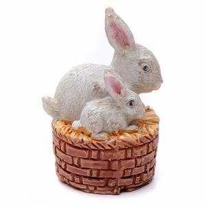 Animali presepe: Coniglietti in cestino resina per presepe 15 cm