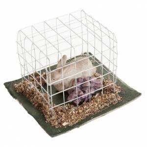 Animali presepe: Coniglio in gabbia presepe 10 cm