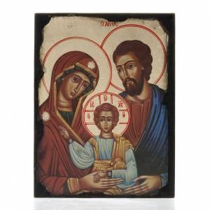Íconos estampados madera y piedra: Ícono estampado Sagrada Familia sobre tabla