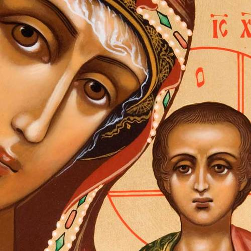 Ícono ortodoxa Virgen de Kazan pintada Rusia s2