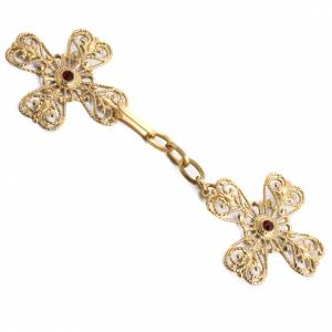 Copes, Roman Chasubles and Dalmatics: Cope clasp, gold-plated brass, cross with stone