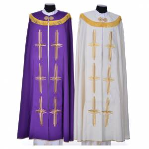 Copes, Roman Chasubles and Dalmatics: Cope in polyester with 6 crosses embroidery
