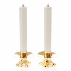 Candelieri metallo: Coppia candelieri metallo dorato base treppiedi h12