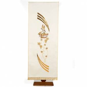 Coprileggio shantung decorato patena spighe e uva s7