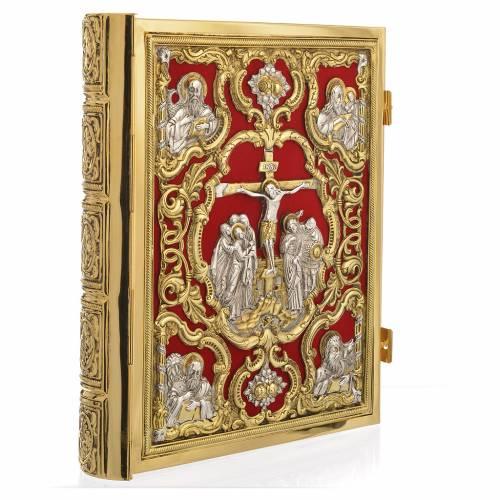 Coprilezionario ottone dorato Gesù Crocifisso s1