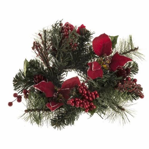 Corona de Navidad con estrella, frutos y ramas s1