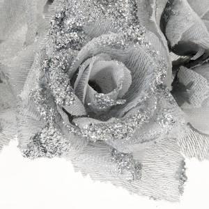 Corona portavela rosas plateada s3