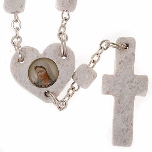 Coroncina Medjugorje cuore pietra bianca s1