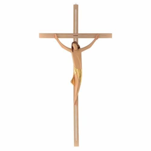 Corps Christ moderne drap doré croix en frêne s1