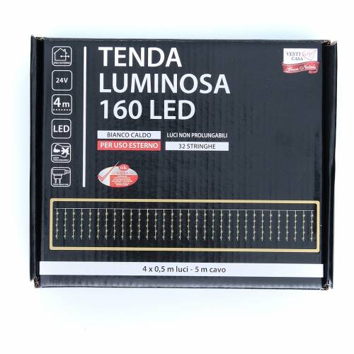 Cortina de luces de Navidad 160 LED blanco cálido para exterior s3