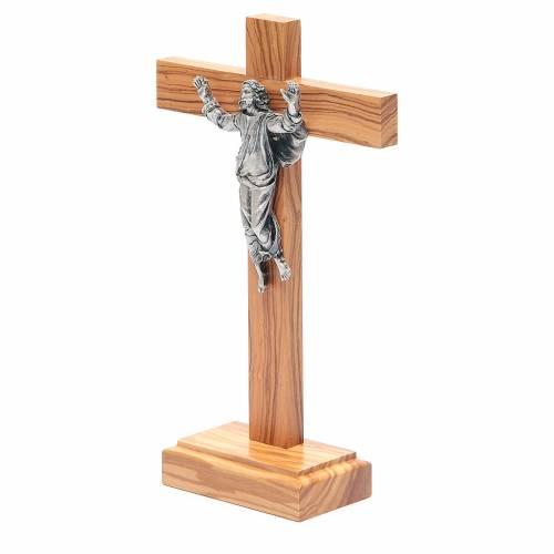 Cristo Risorto metallo crocifisso da tavolo olivo s2