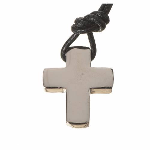Croce classica argento con cordino s1