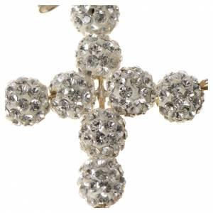 Croce con perle Swarovski bianco 3x3,5 cm s2
