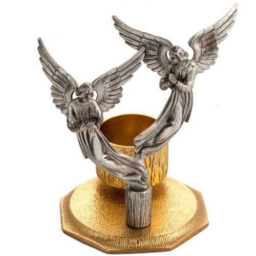 Croce da mensa e candelieri con angeli, in bronzo fuso s2