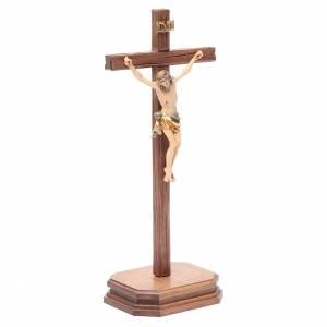 Croce da tavolo scolpito mod. Corpus legno Valgardena colorato s3