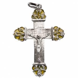 Pendenti, croci, spille, catenelle: Croce in argento con smalto giallo
