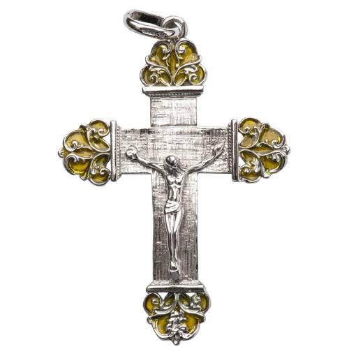 Croce in argento con smalto giallo s1