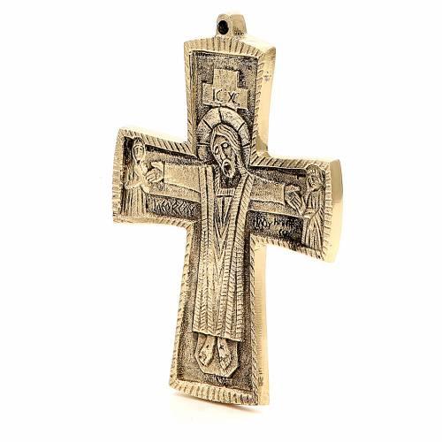 Croce JJésus grand prêtre Monaci Betlemme ottone 13x9,5 cm s2