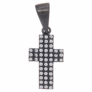 Pendenti, croci, spille, catenelle: Croce nera in argento 925 con zirconi trasparenti