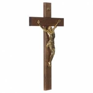 Croce noce scuro Cristo resina oro 65 cm s2
