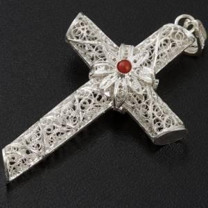Pendenti, croci, spille, catenelle: Croce pendente corallo filigrana argento 800 - gr. 10,2