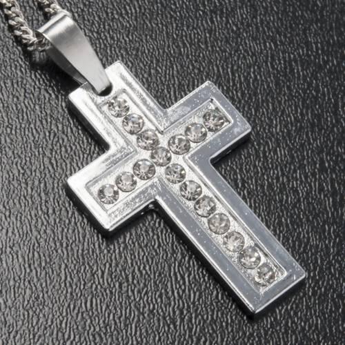 Croce pendente metallo classica strass e catenella s2