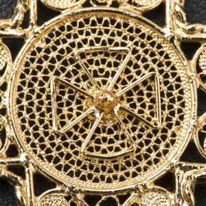 Croce pettorale arg. 800 dorata filigrana con decori s8