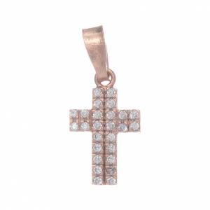 Pendenti, croci, spille, catenelle: Croce rosata in argento 925 con zirconi trasparenti