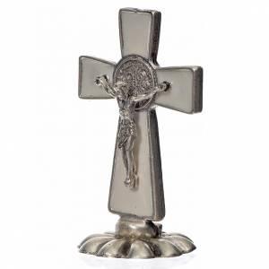 Croce San Benedetto da tavolo in zama 5x3 smalto bianco s2