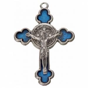 Croci di san Benedetto: Croce San Benedetto trilobata 4.8X3,4 zama smalto blu