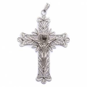 Articoli vescovili: Croce vescovile Corpo di Cristo stilizzato filig. arg. 800