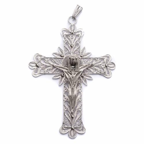 Croce vescovile Corpo di Cristo stilizzato filig. arg. 800 s1