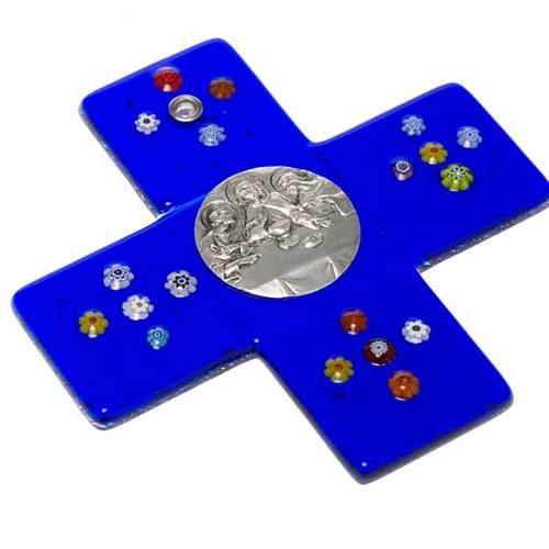 Croce vetro Murano blu Cena Emmaus s2