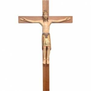 Crocefisso di Altenstadt romanico legno Valgardena Ant. Gold s1