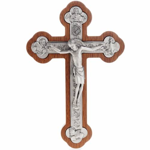 Crocefisso metallo argentato 4 evangelisti croce mogano s1