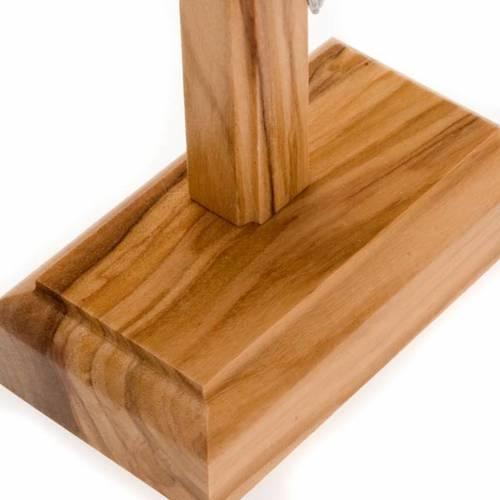 Crocifisso da tavolo dorato legno olivo e metallo argentato s5