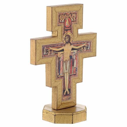 Crocifisso da tavolo San Damiano bordo dorato s3