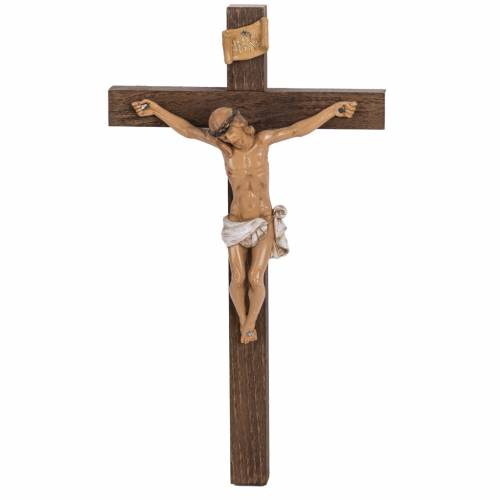 Crocifisso Fontanini croce legno 30x17 corpo pvc s1