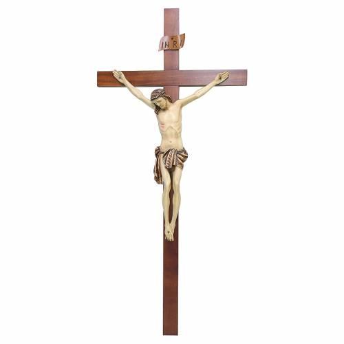 Crocifisso legno di noce Cristo dipinto s1