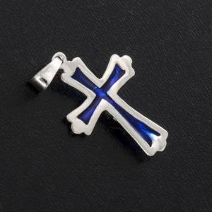 Croix argent 925 émail bleu s3