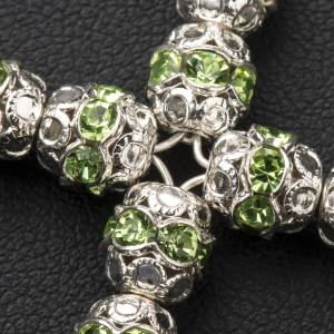 Croix argent et strass vert 6 mm s3