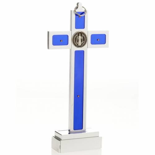 Croix de St Benoit à poser laiton email bleu s4