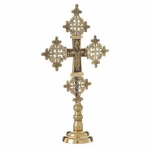 Croix d'autel avec chandeliers: Croix de table Christ Glorieux 31x19 cm Bethléem